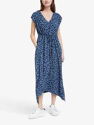 John Lewis & Partners Animal Print Midi Dress, Blue