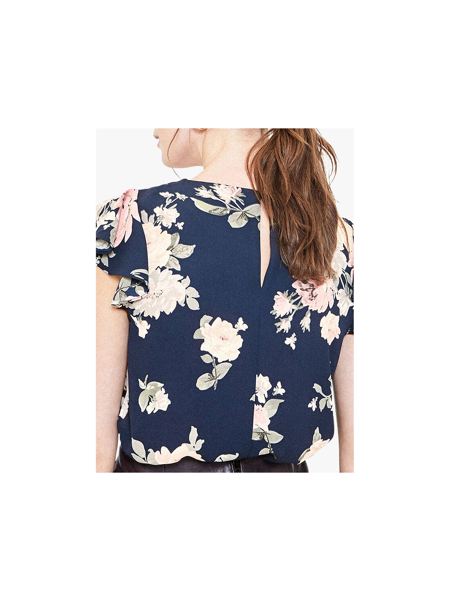 Buy Oasis Loganberry Rose Shell Top, Blue/Multi, 6 Online at johnlewis.com