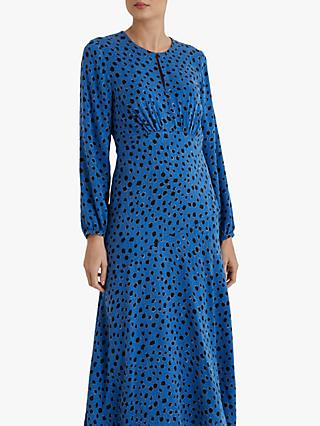 Fenn Wright Manson Flavie Spot Print Midi Dress, Blue/Black