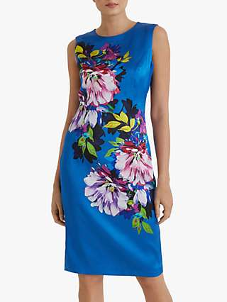 Fenn Wright Manson Isaline Floral Pencil Dress, Blue Peony Print