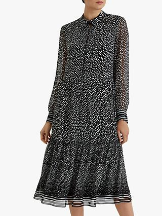 Fenn Wright Manson Clemence Spot Frill Midi Dress, Black/Ivory