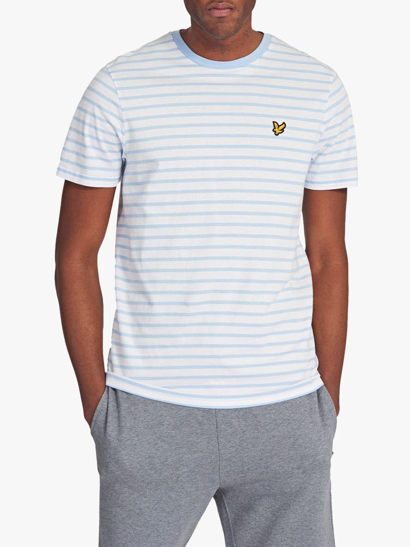 Lyle & Scott Lyle & Scott Stripe Crew Neck T-Shirt, Pool Blue/White