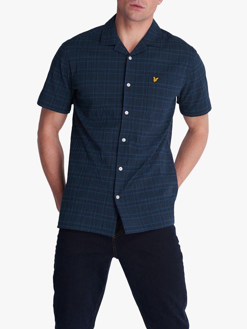 Lyle & Scott Lyle & Scott Seersucker Check Resort Short Sleeve Shirt, Navy