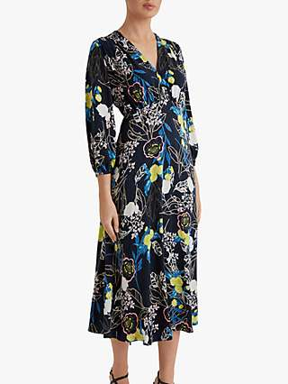 Fenn Wright Manson Petite Angelique Blossom Midi Dress, Navy/Multi