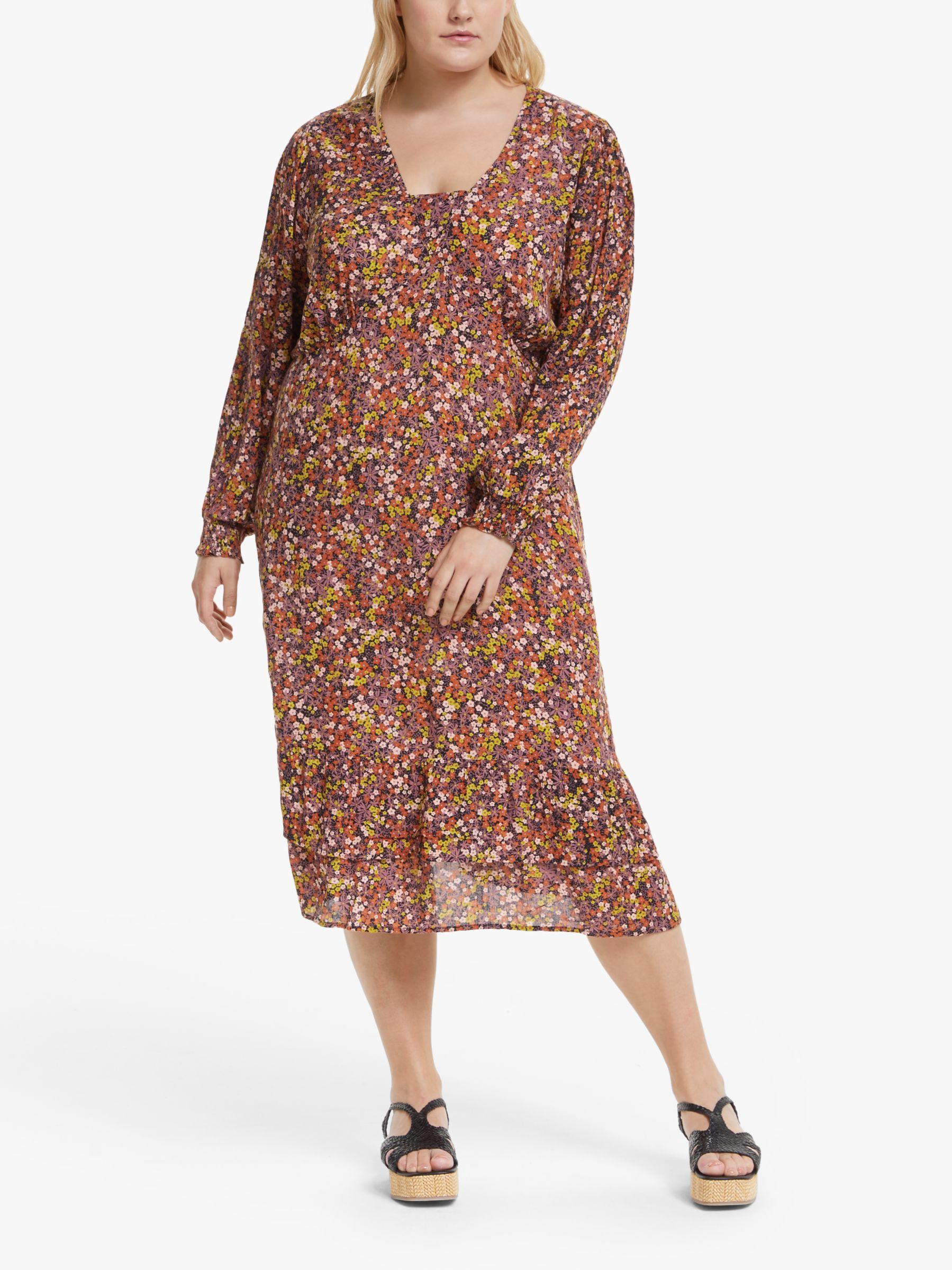 Junarose JUNAROSE Curve Aria Floral Print Midi Dress, Dusty Orchid