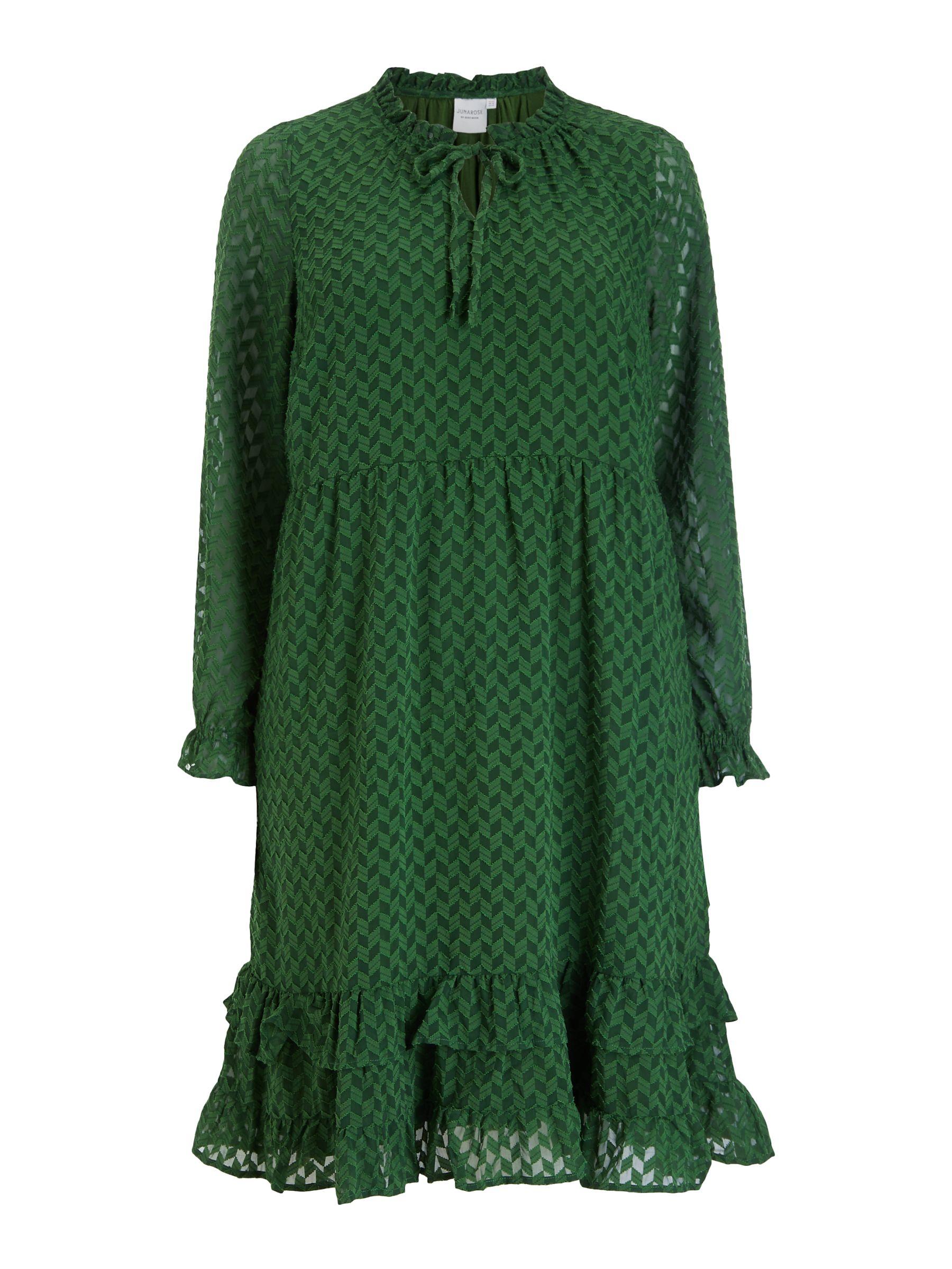 Junarose JUNAROSE Curve Niza Chevron Print Ruffle Dress, Eden