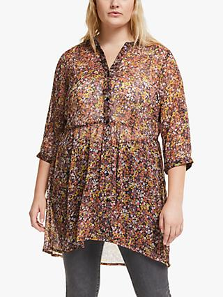 JUNAROSE Curve Ariarevea Floral Print Shirt, Dusty Orchid