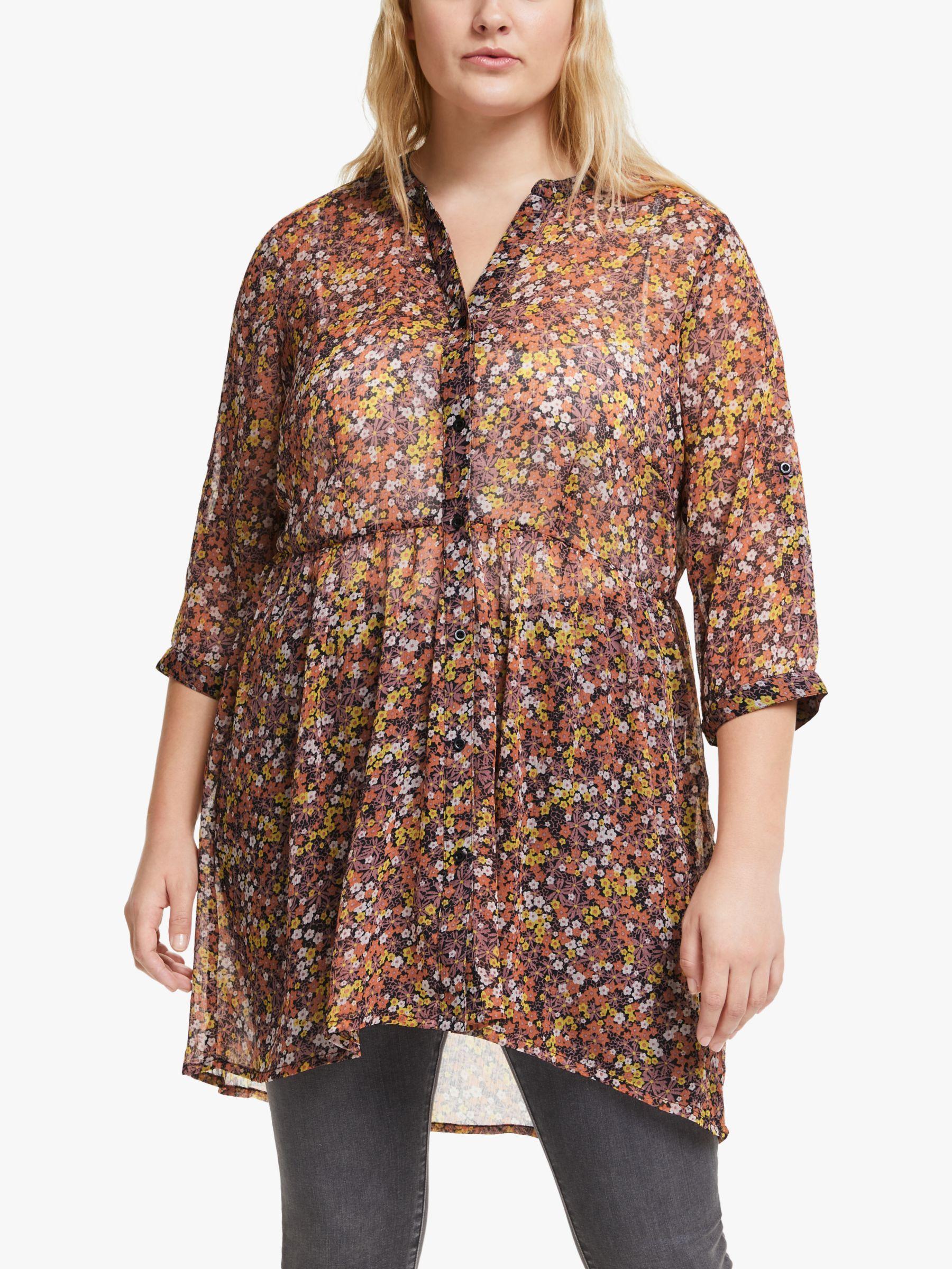 Junarose JUNAROSE Curve Ariarevea Floral Print Shirt, Dusty Orchid