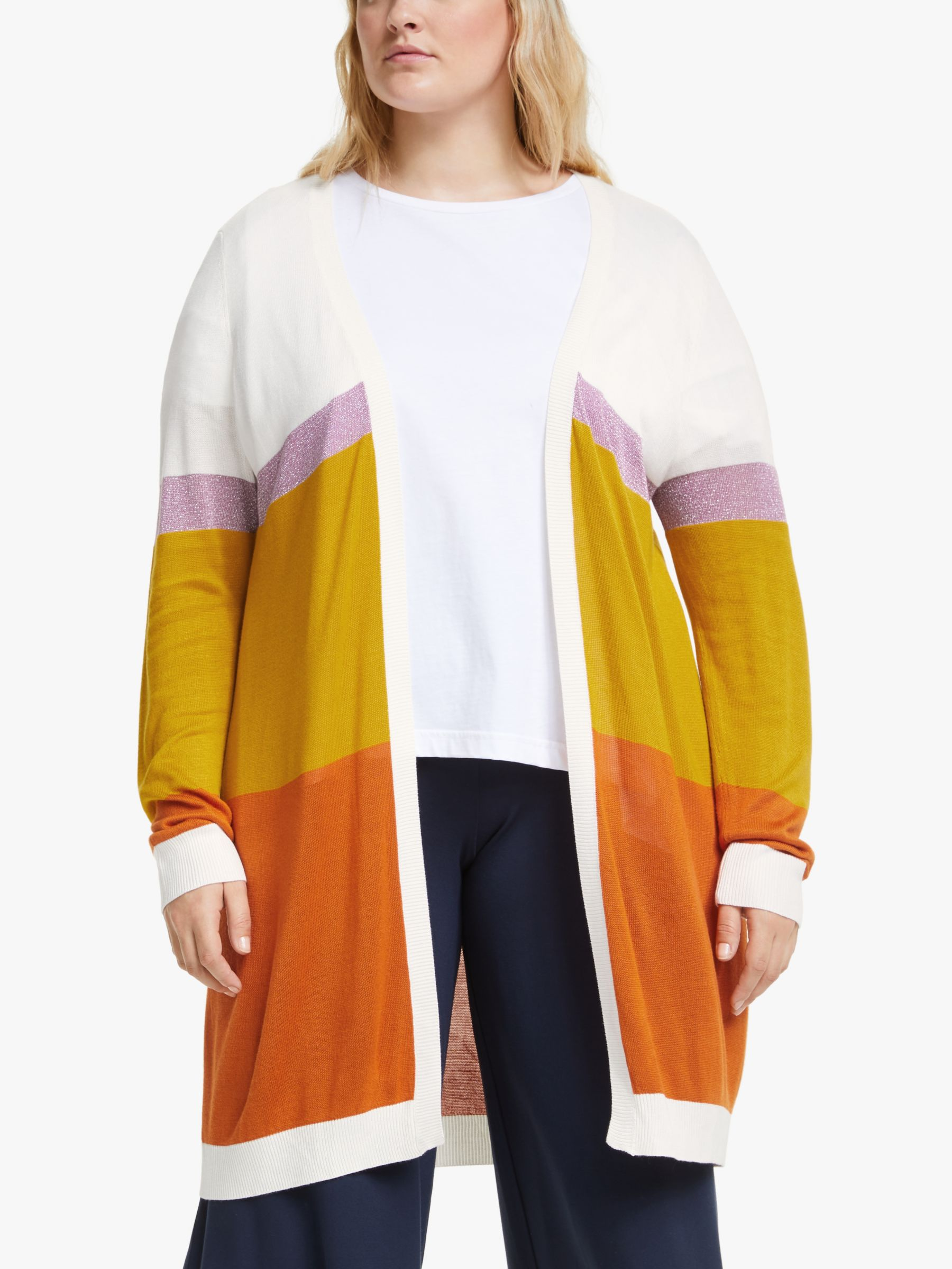 Junarose JUNAROSE Curve Filika Long Sleeve Knit Cardigan, Vanilla Ice/Multi