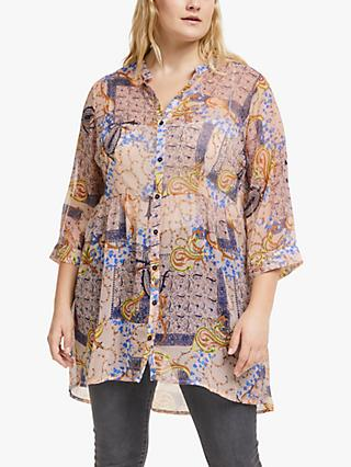 JUNAROSE Curve Uilrevea Abstract Tunic, Mahogany Rose