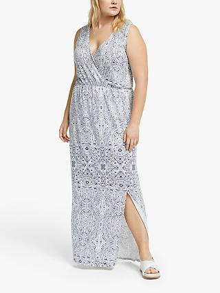 JUNAROSE Curve Paisley Print Wrap Dress, Blueprint