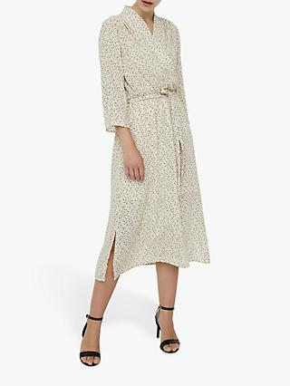 AWARE BY VERO MODA Calf Abstract Print Midi Dress, Birch