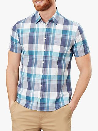 Joules Wilson Check Short Sleeve Classic Fit Shirt, Blue