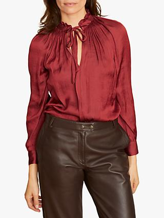 Jigsaw Crocus Drape Tie Neck Top, Redcurrant