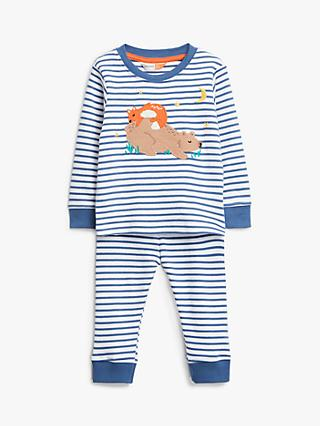 John Lewis & Partners Baby GOTS Organic Cotton Bear Applique Stripe Pyjamas, Blue