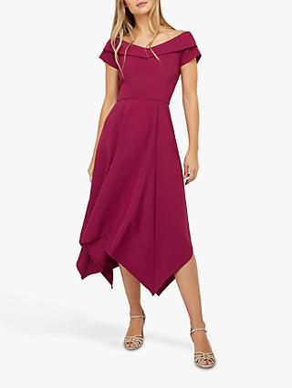 Monsoon Savea Asymmetric Hem Bardot Dress, Berry
