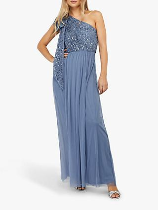 Monsoon Odell Sequin Floral Maxi Dress, Blue