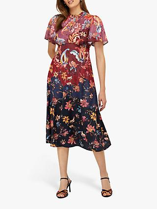 Monsoon Laura Printed Satin Tea Midi Dress, Multi