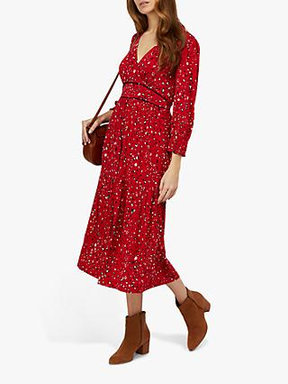 Monsoon Star Print Midi Dress, Red