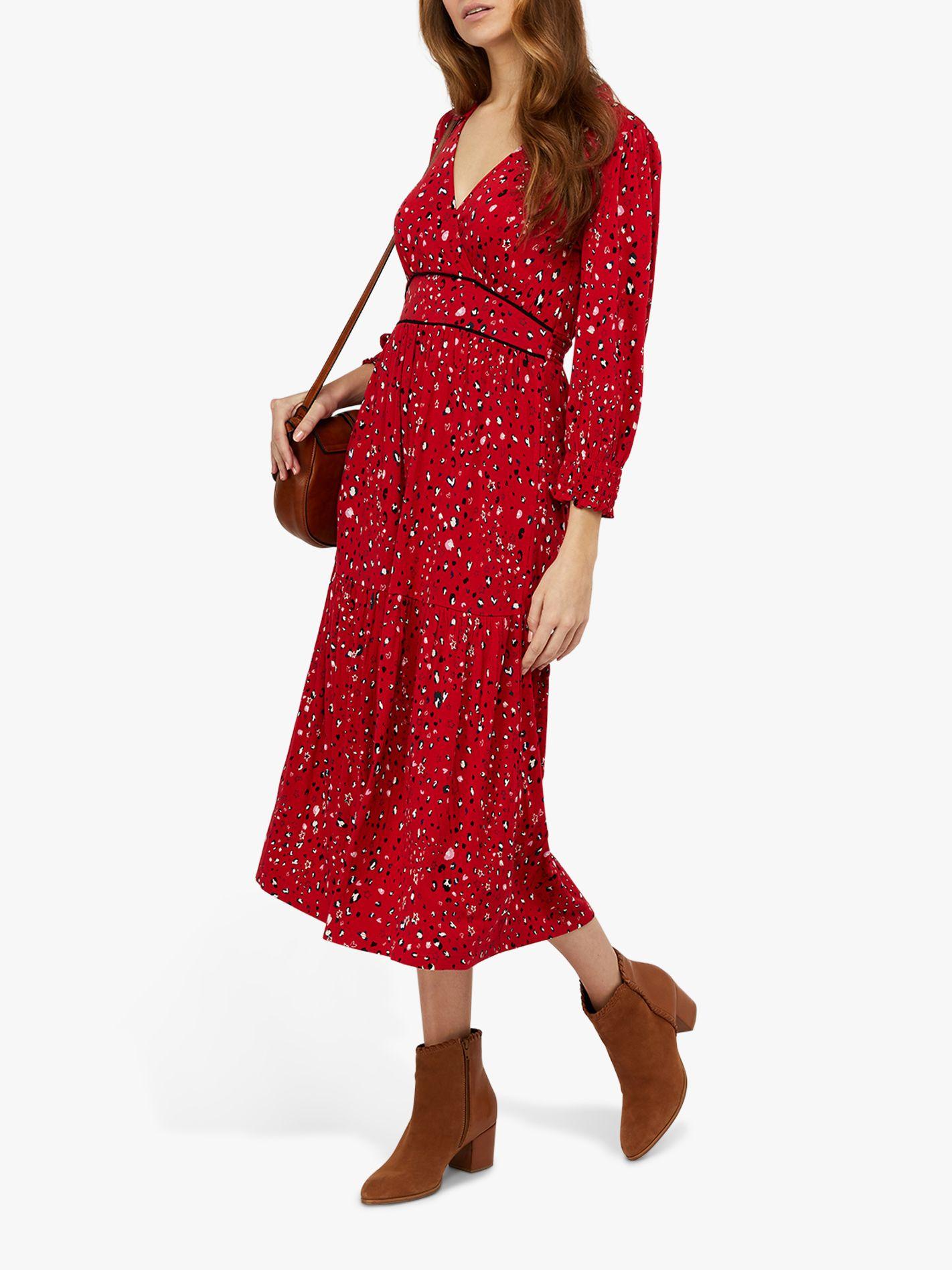 Monsoon Monsoon Star Print Midi Dress, Red