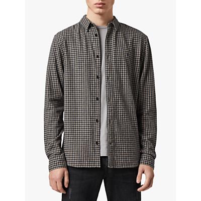 Image of AllSaints Albany Check Shirt, Black/Yellow