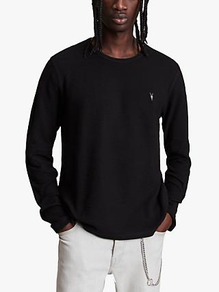 AllSaints Muse Long Sleeved Crew Neck Top, Jet Black