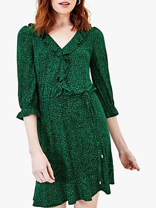 Oasis Ditsy Ruffle Tea Dress, Multi/Green