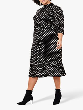 Oasis Curve Spot Midi Dress, Multi/Black