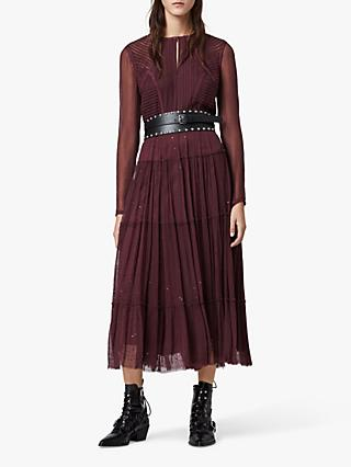 AllSaints Rochi Embellished Long Sleeve Midi Dress, Port