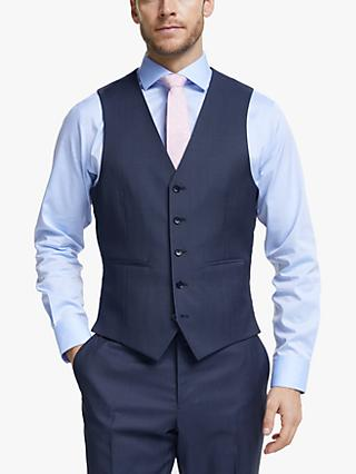 John Lewis & Partners Barberis Wool Tailored Suit Waistcoat, Blue