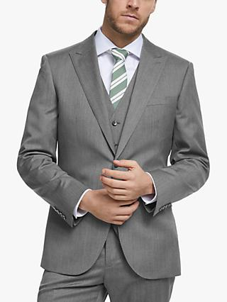 John Lewis & Partners Barberis Wool Tailored Suit Jacket, Light Grey