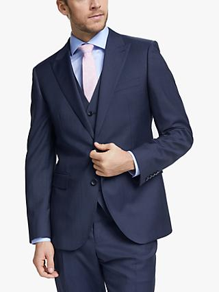 John Lewis & Partners Barberis Wool Tailored Suit Jacket, Blue