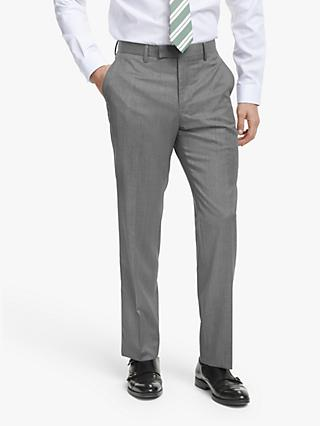 John Lewis & Partners Barberis Wool Tailored Suit Trousers, Light Grey