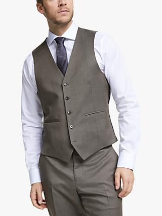 John Lewis & Partners Barberis Wool Tailored Suit Waistcoat, Light Brown