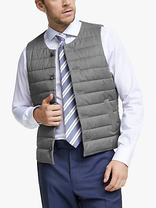 John Lewis & Partners Barberis Wool Gilet, Light Grey