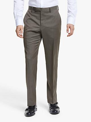 John Lewis & Partners Barberis Wool Tailored Suit Trousers, Light Brown