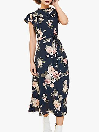 Oasis Floral Frill Midi Dress, Blue/Multi