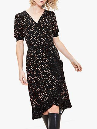 Oasis Spot Print Ruffle Midi Dress, Black/Multi