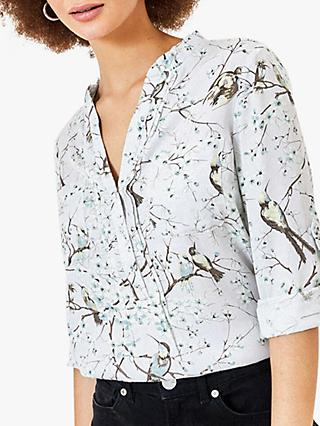 Oasis Bird Blossom Print Shirt, Grey/Multi