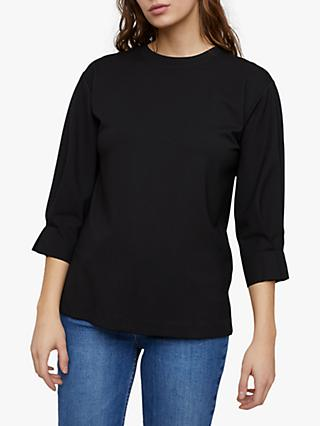 Jigsaw Pleated Cuff Sweatshirt, Black