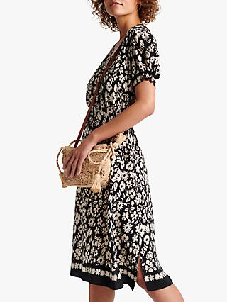 Gerard Darel Stefania Floral Belt Dress, Black/White