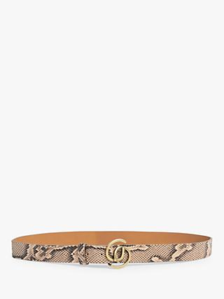 Gerard Darel Double Round Buckle Leather Belt, Beige