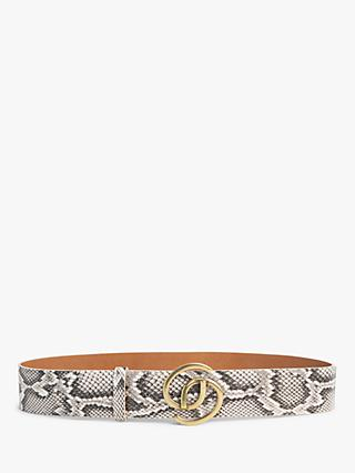 Gerard Darel GD Leather Snake Print Belt, Ecru