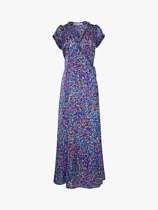 Gerard Darel Susy Floral Wrap Maxi Dress, Blue