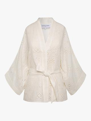 Gerard Darel Naelie Short Kimono Embroidered Top, White
