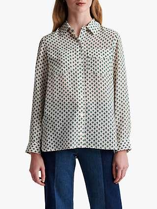 Gerard Darel Nicoletta Geometric Print Silk Blouse, Green