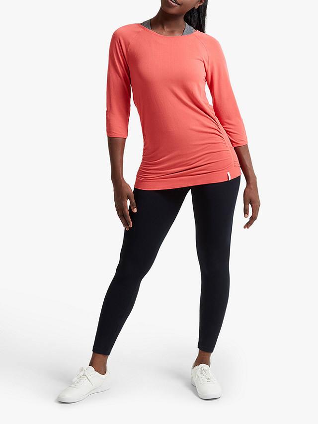 Jilla Active Savasana Bamboo 3/4 Sleeve Yoga Top, Coral at ...
