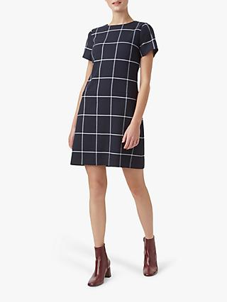 Hobbs Riley Check Shift Dress, Navy/Ivory