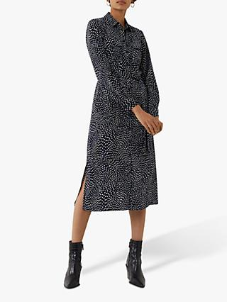 Warehouse Dash Print Shirt Dress, Black