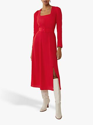 Warehouse Square Neck Belted Midi Dress, Dark Red